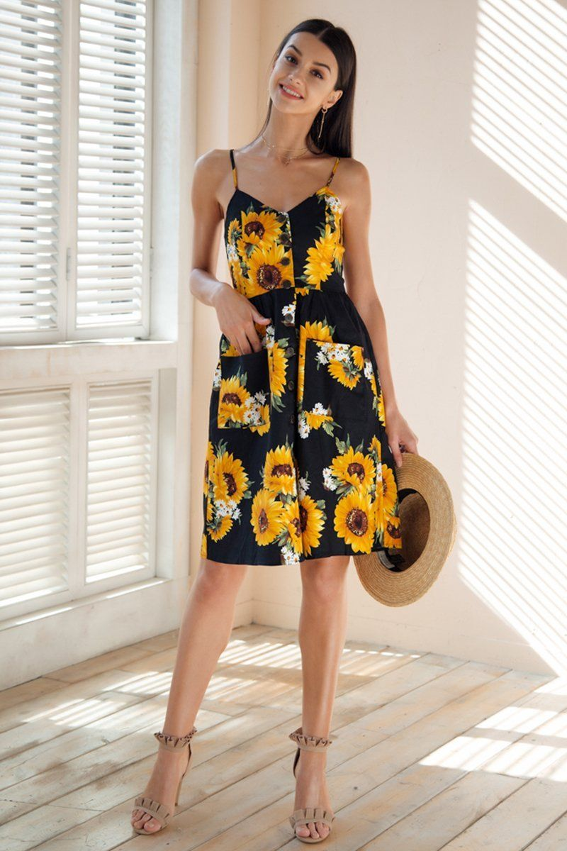 f88089b8d0a Product Description  Buy Spring Summer 2018 Fashion Trends Women s  Sunflower Printed V-neck Backless Summer Dress On Sale by PesciModa  Details  - Material  ...