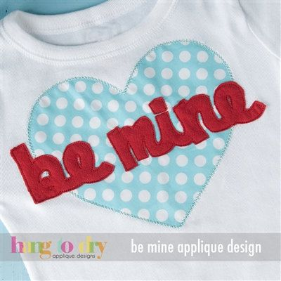 Be Mine Heart Valentine Applique Custom Personalized by dcstitches, $21.00