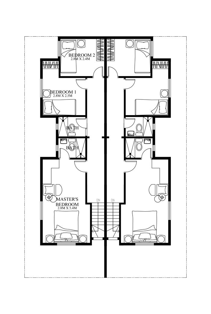 Duplex House plan PHP2014006 is a four bedroom house plan design