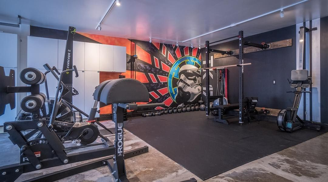 Fun artistic design for fitness training at a garage gym t