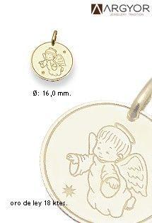 17c29c382832 Medalla infantil de oro 18 Kilates religiosa de la firma ARGYOR con el  motivo del ángel de la guarda perfecta para nacimientos o bautizos.