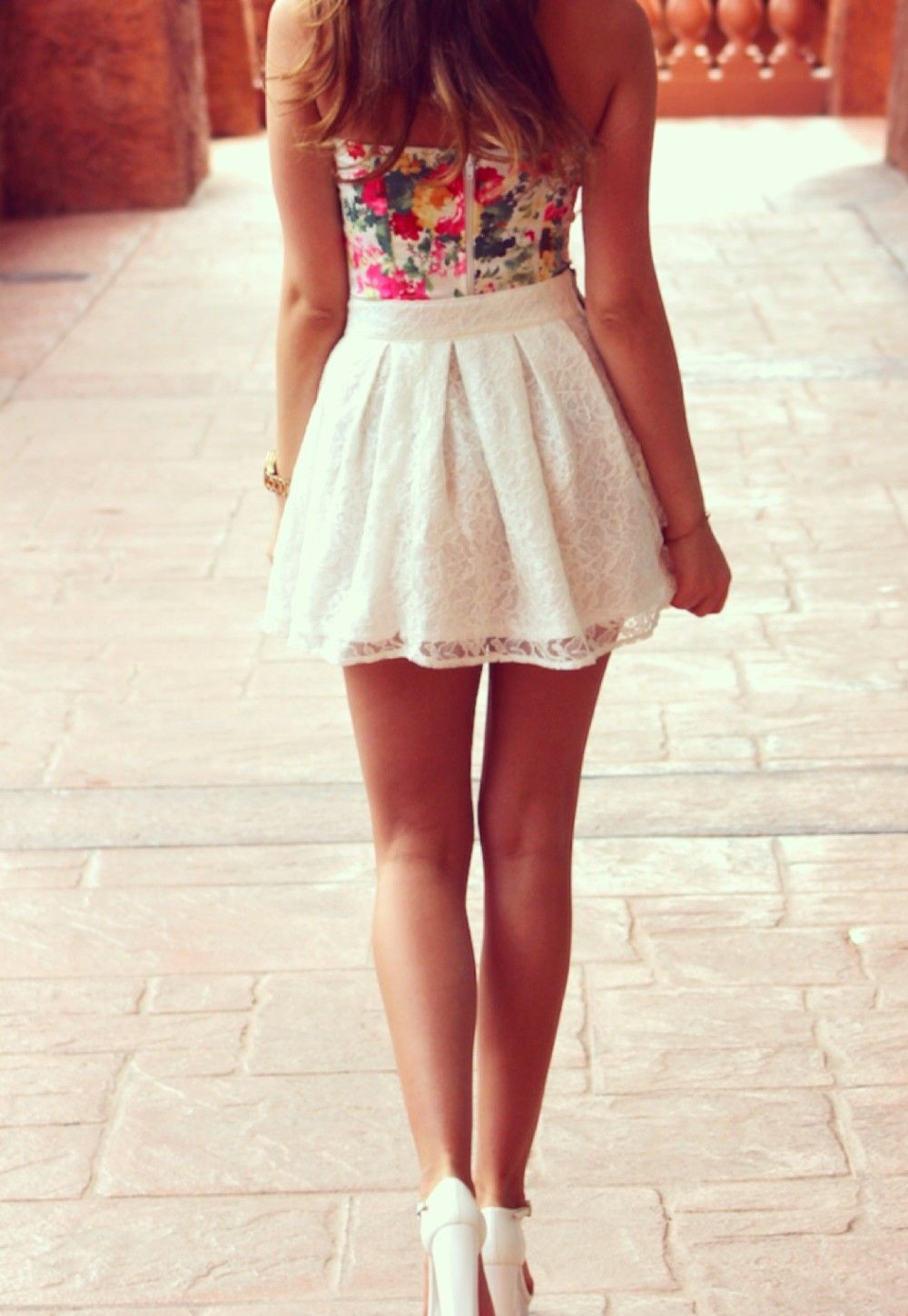 Stalk My Style Floral Bustier U0026 White Lace Mini | Lace Skirt Spring Summer And Floral