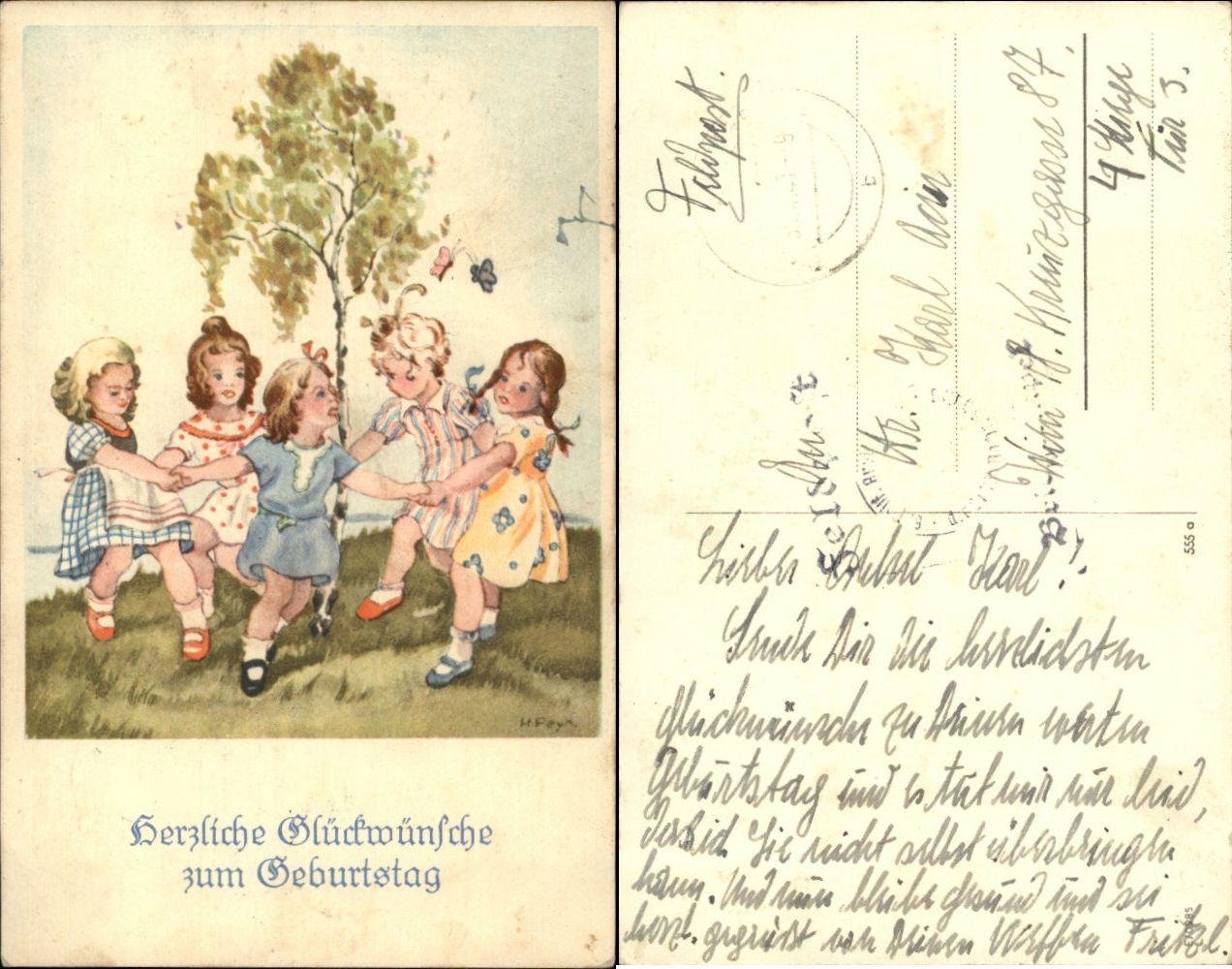 GEBURTSTAG: Mädchen im Reigen um Birke, Künstler-AK sign. H.Feyk, color 1941   eBay