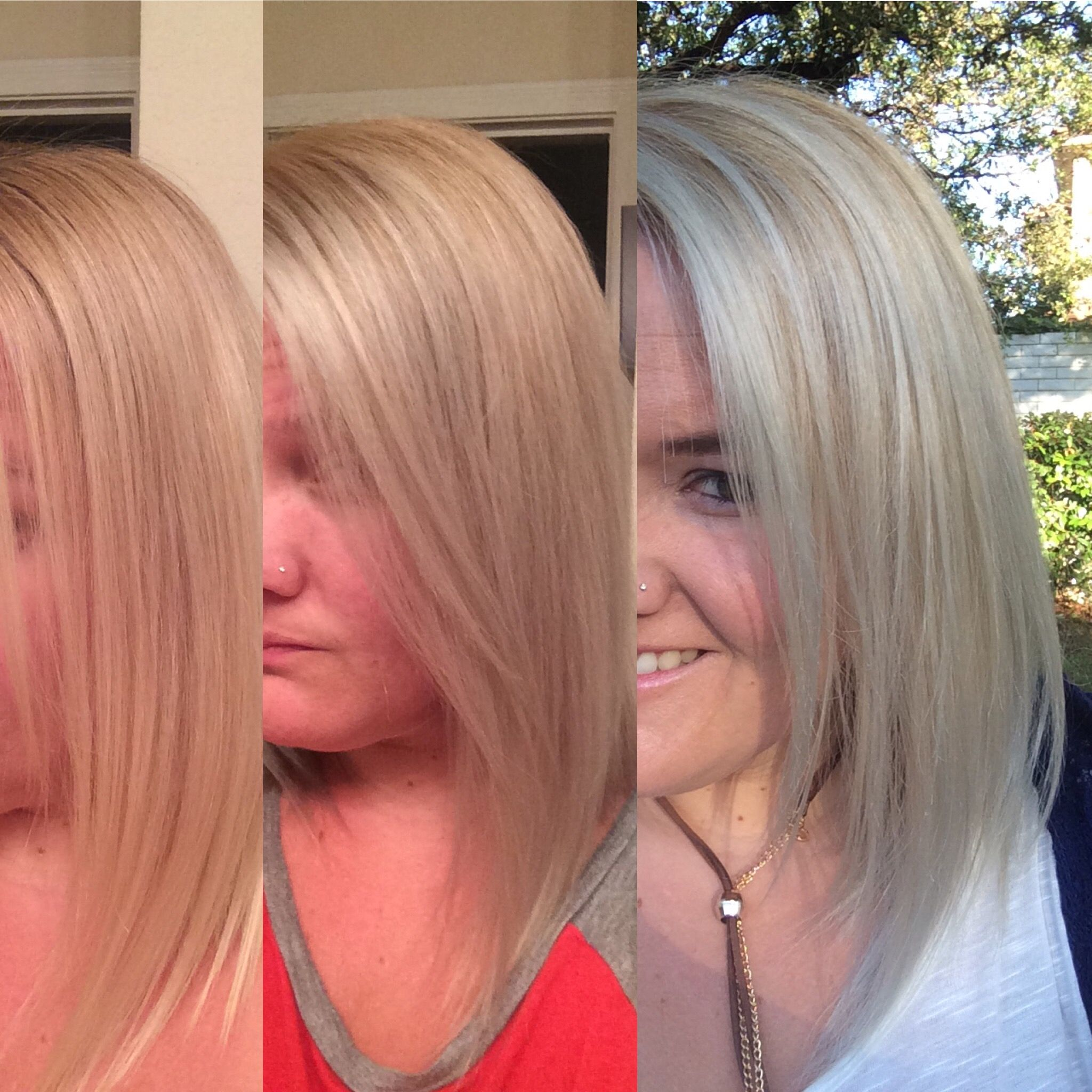 Ion bright white toner in platinum lace before after and then natural light also rh pinterest