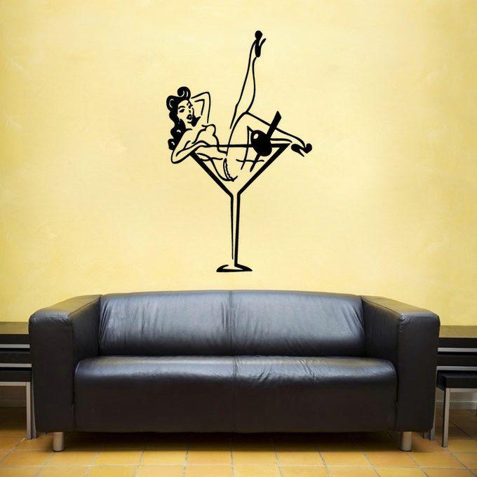 Pin up Girl vinyl Wall DECAL- burlesque pinup interior design ...