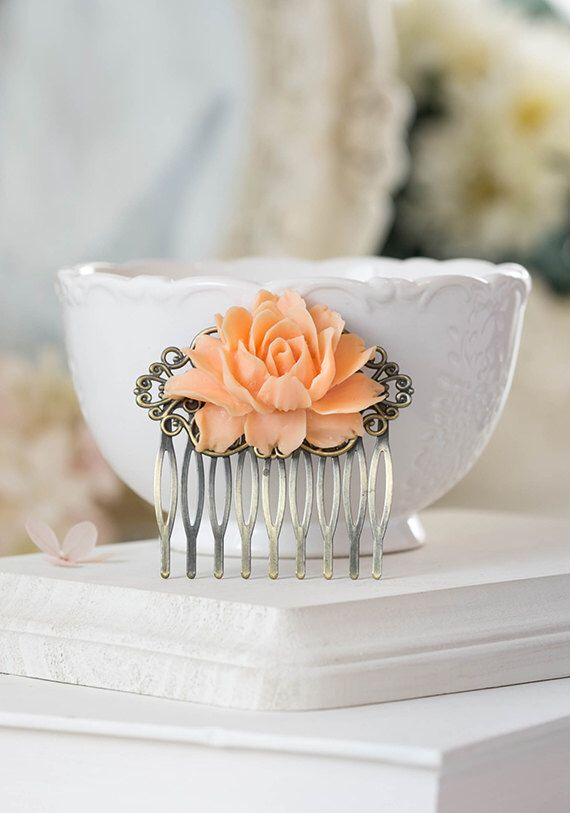 Peach Rose Hair Comb Antiqued Brass Filigree Comb Peach Wedding Hair Slide Bridal Hair Piece Bridesmaid Gift Floral Hair Accessory by LeChaim on Etsy https://www.etsy.com/listing/266193638/peach-rose-hair-comb-antiqued-brass
