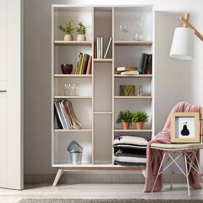 Adi Scandinavian Style Bookshelf Ash Timber And White Living Room Bookcase Shelving Bookcase Design