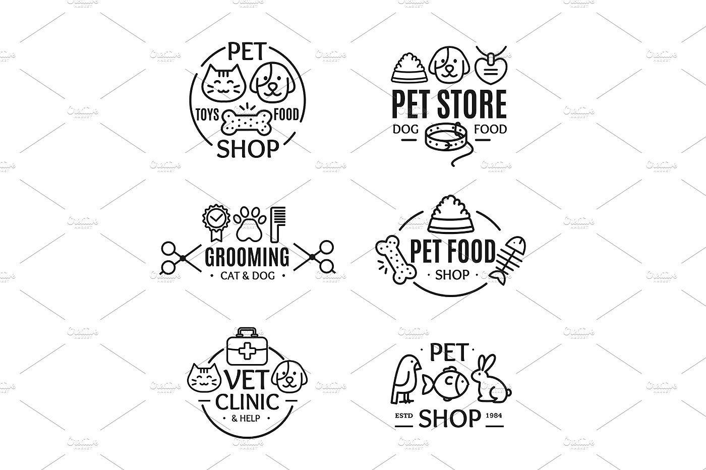 Pet Shop Badges or Labels Logo mascota, Mascotas, Perros