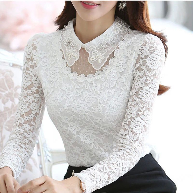 ceab3517826f79 Korean Women Embroidery Flower Long Sleeve Lace Slim Tops White Ol Shirt  Blouse