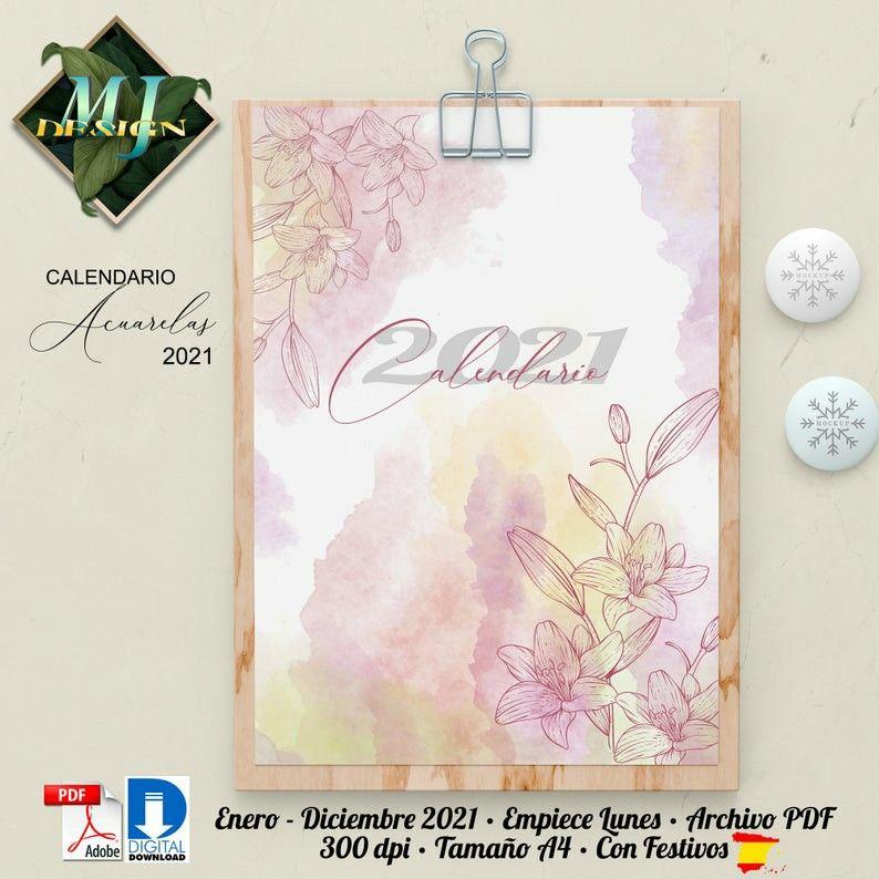 Spanish Calendar Watercolor 2021, Wall Calendar with ...