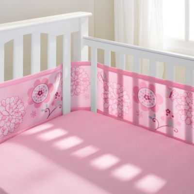 BreathableBaby Mesh Crib Liner in Pink Owl - soft and ...