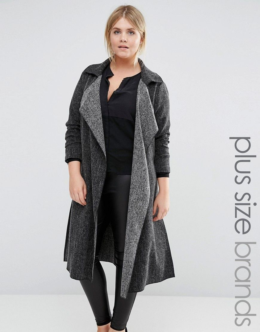 c9efd26fbc40 Discover plus size fashion and shop ASOS Curve for the latest styles for  curvy women. Image 1 of New Look Plus Waterfall Duster Coat