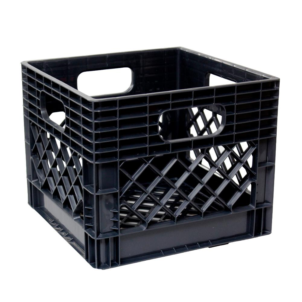Gsc Technologies 11 In H X 13 In W X 13 In D Plastic Storage Milk Crate In Black 4 Pack Stmc13131112 The Home Depot Milk Crate Storage Milk Crates Crate Storage