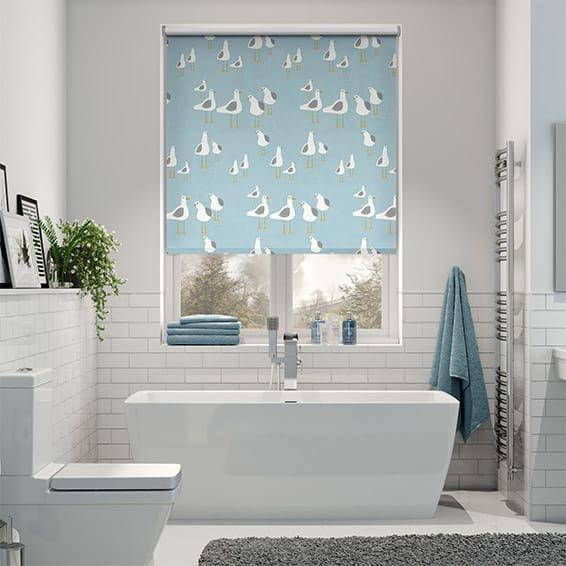 bathroom blinds. Maybe should just have simple bathroom with fun blind  Splash Gulls Seaside Blue Roller Blind roller blinds