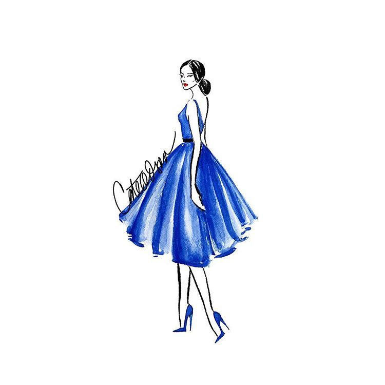 She's taking a stroll in her LBD - her little BLUE dress. #CateOdson #FashionIllustration #FashionSketch