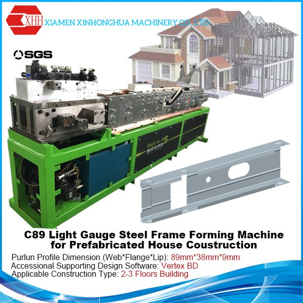 C89 Sigle Profile Light Steel Frame Forming Machine For Low Rise Building Sell With Vertex Bd Software Steel Frame Prefabricated Houses Building Concept
