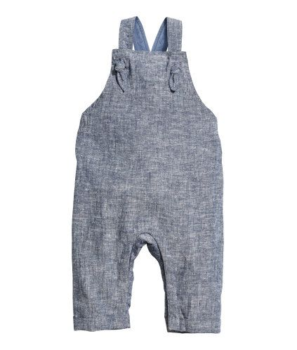 Linen-blend Bib Overalls | Dark blue melange | Kids | H&M US