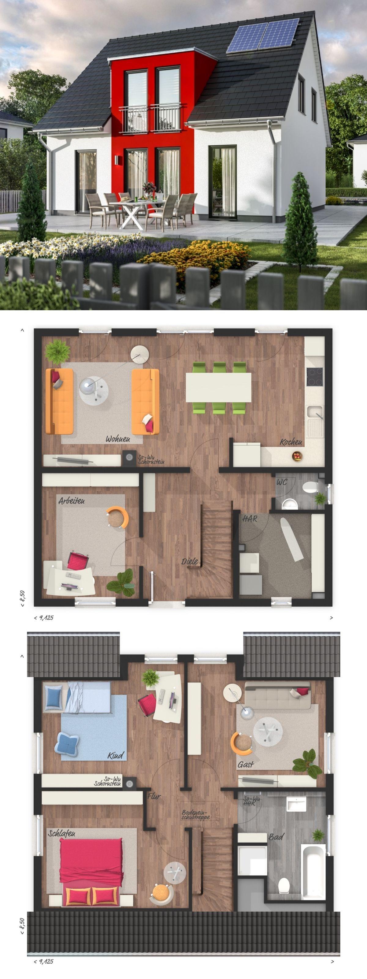 Einfamilienhaus modern Grundriss mit Satteldach