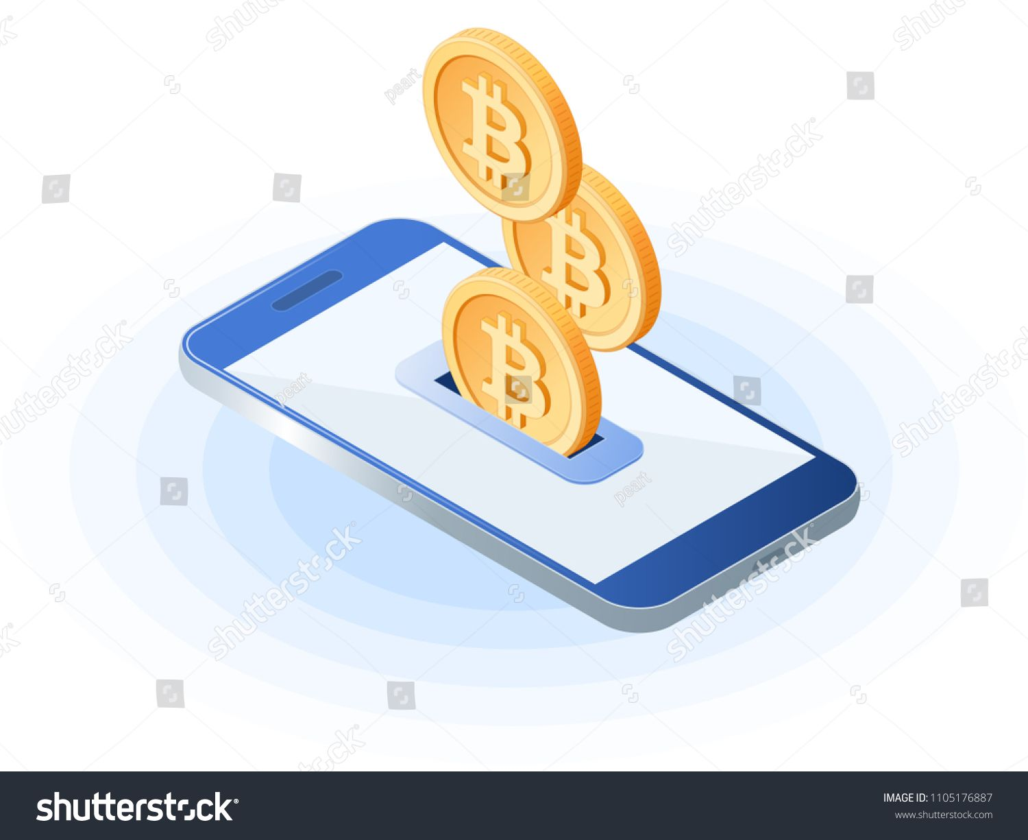 Flat Isometric Ilration Of Bitcoins Droping Into Slot At The Mobile Phone Depositing Money An Account E Commerce Blockchain Cryptocurrency