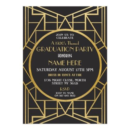 S Art Deco Graduation Party Gatsby Invitation  Invitation