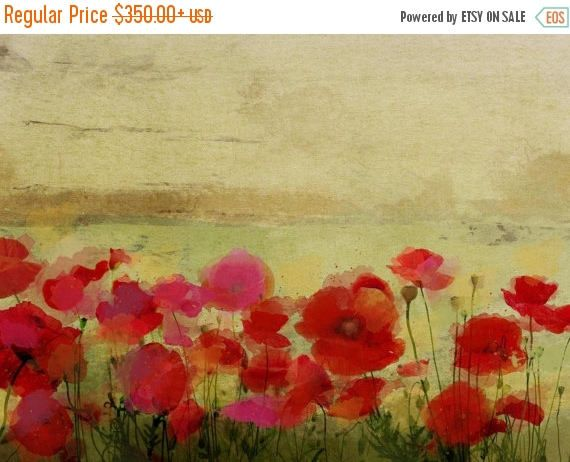 Red Poppies in Field at Sunset Flowers Large Canvas Wall Art Picture Print Poppy