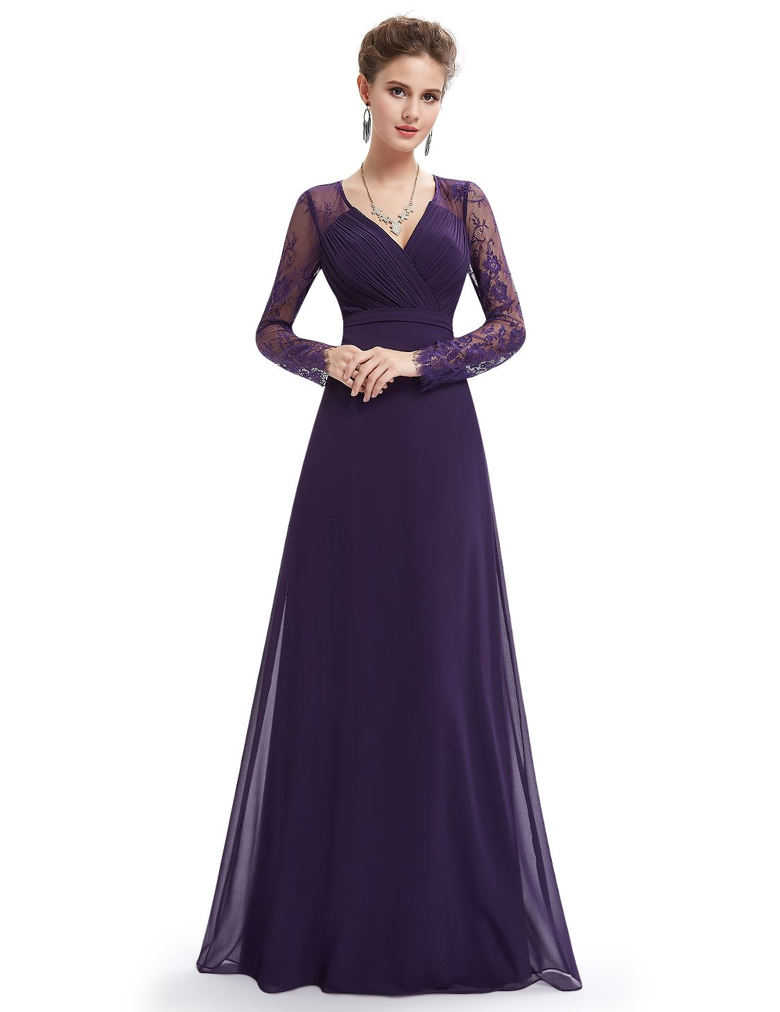 Ever-Pretty Lace Long Sleeve Evening Party Gowns V-Neck Bridesmaid Dresses  08692 Sleeve Evening Long 54c43c847