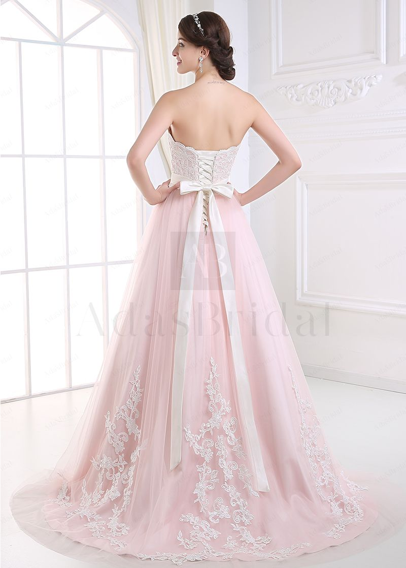 Elegant Tulle Sweetheart Neckline A-line Wedding Dress With Lace Appliques- Adasbridal.com