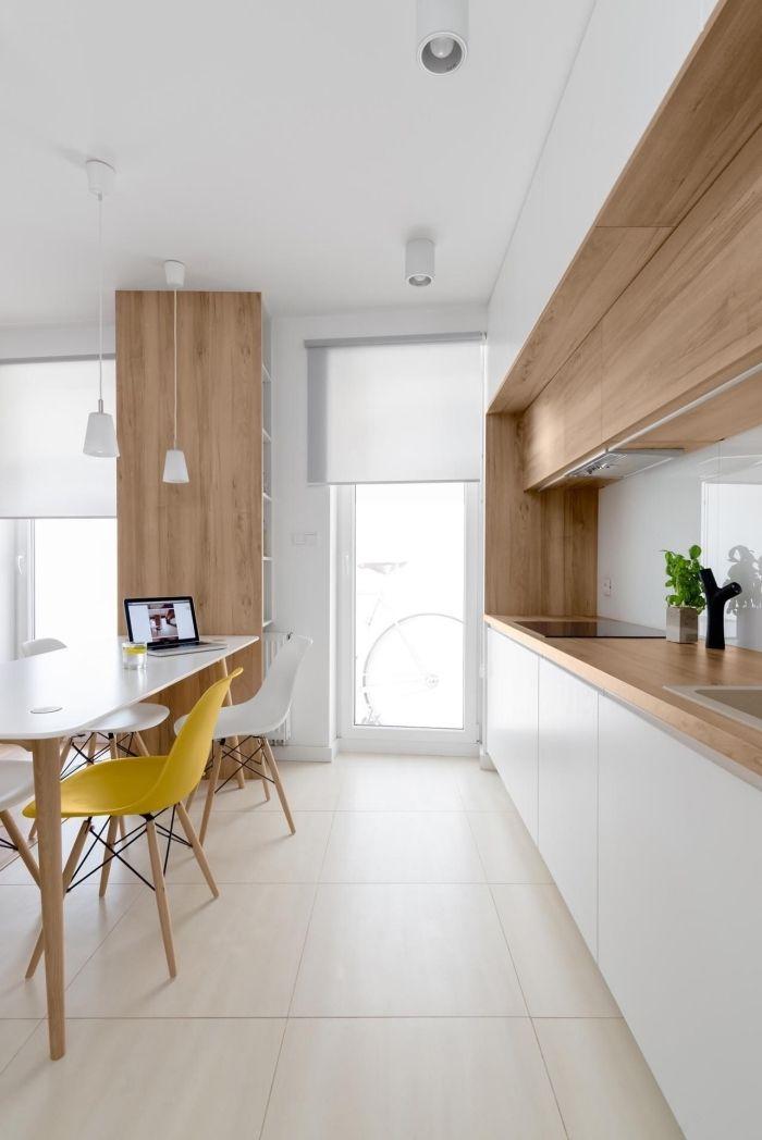 1001 mod les fascinants du duo cuisine blanche plan de travail bois exquisite home design - Modele plan de travail cuisine ...