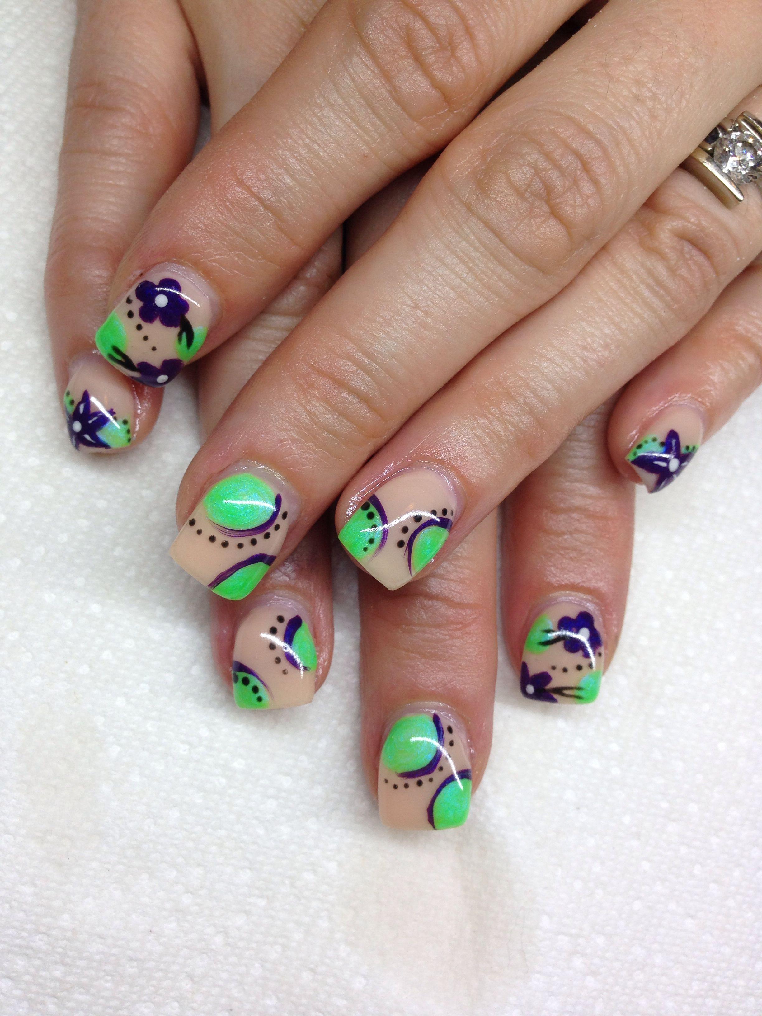 Gel nails with hand drawn design using gel By Melissa Fox ...