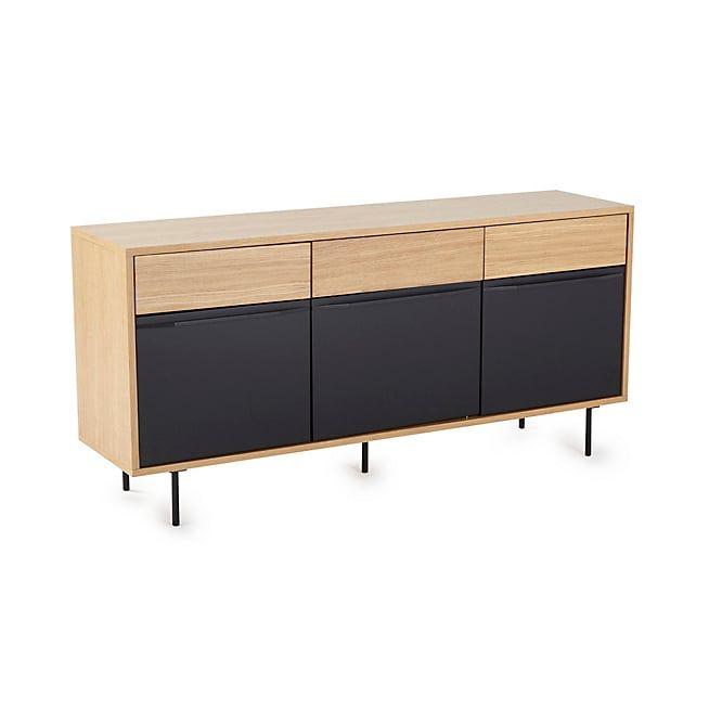 Emilie Buffet bas 3 tiroirs et 3 portes coloris noir et chêne Deco