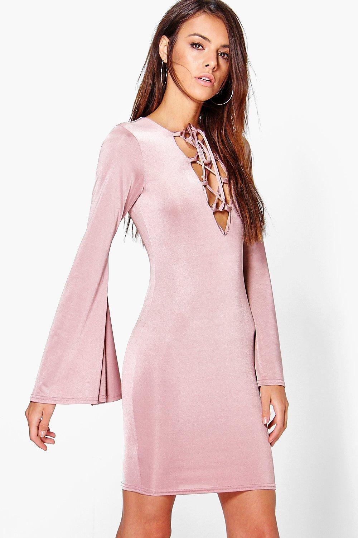 cf18ed30fa2 Willa Lace Up Flared Sleeve Bodycon Dress