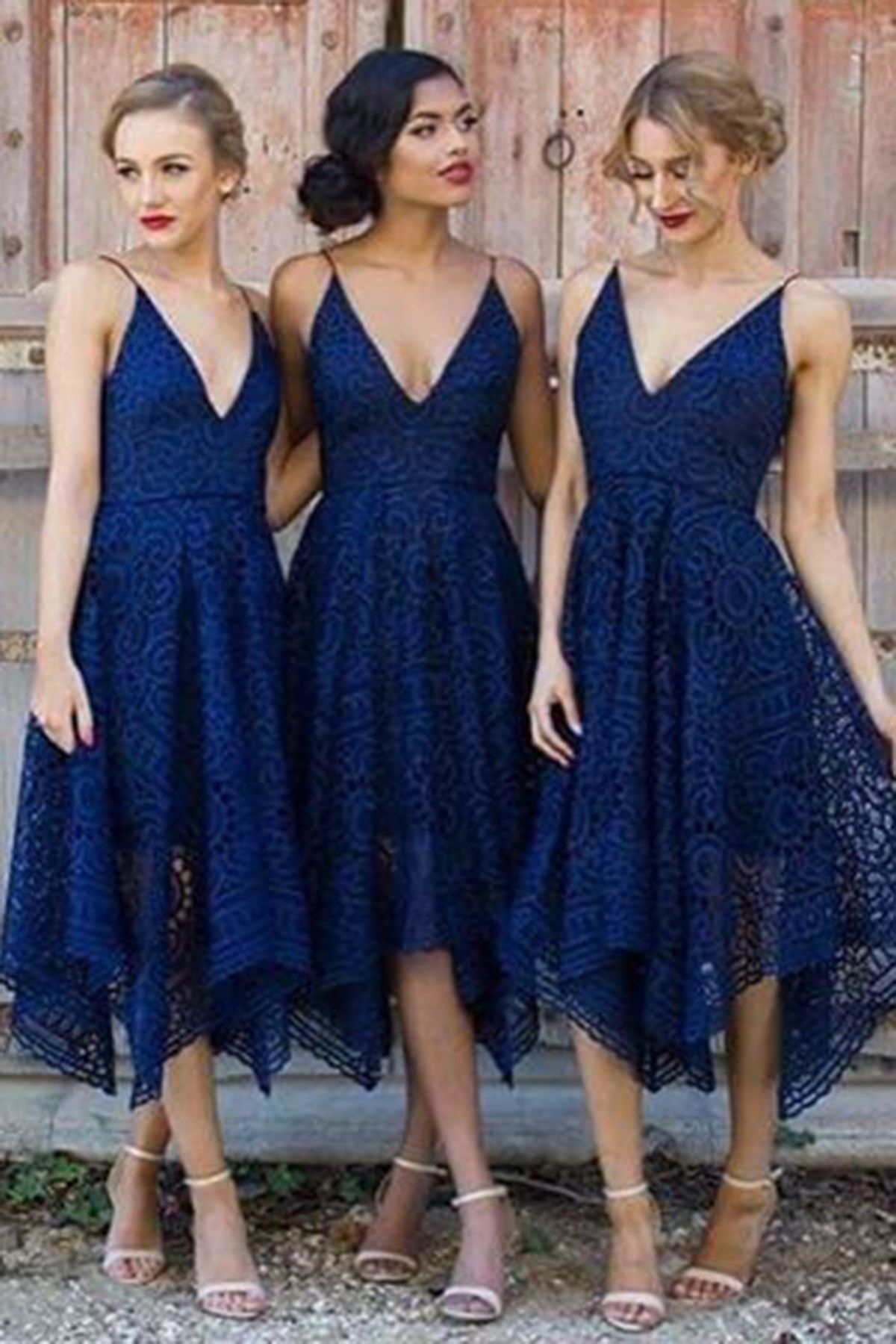 Navy blue lace prom dress high low prom dress homecoming party