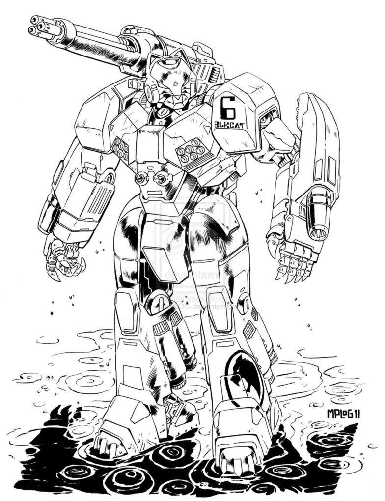 Comm Jaguar Hvy Mech By Mattplog On Deviantart Robots Drawing Mech Military Artwork