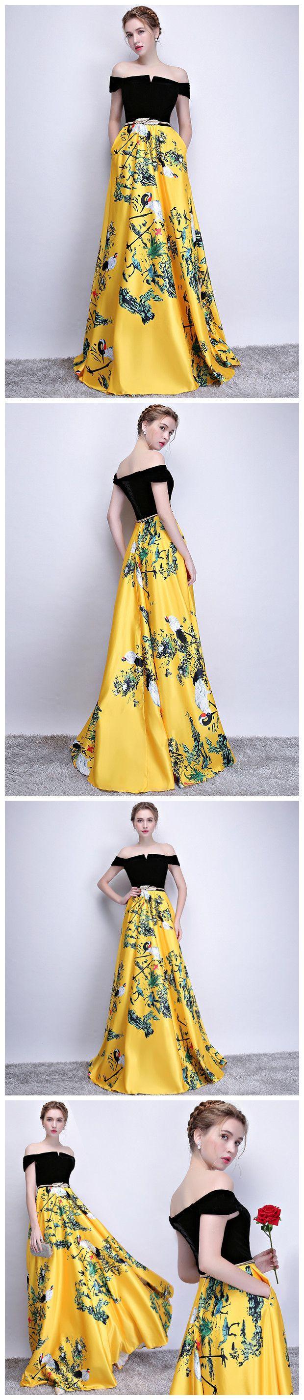Offtheshoulder prom dress aline yesllow floral satin long prom