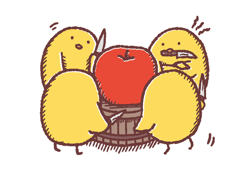 分配を考えるひよこはりんごの前で悩む Graphics Illustrations