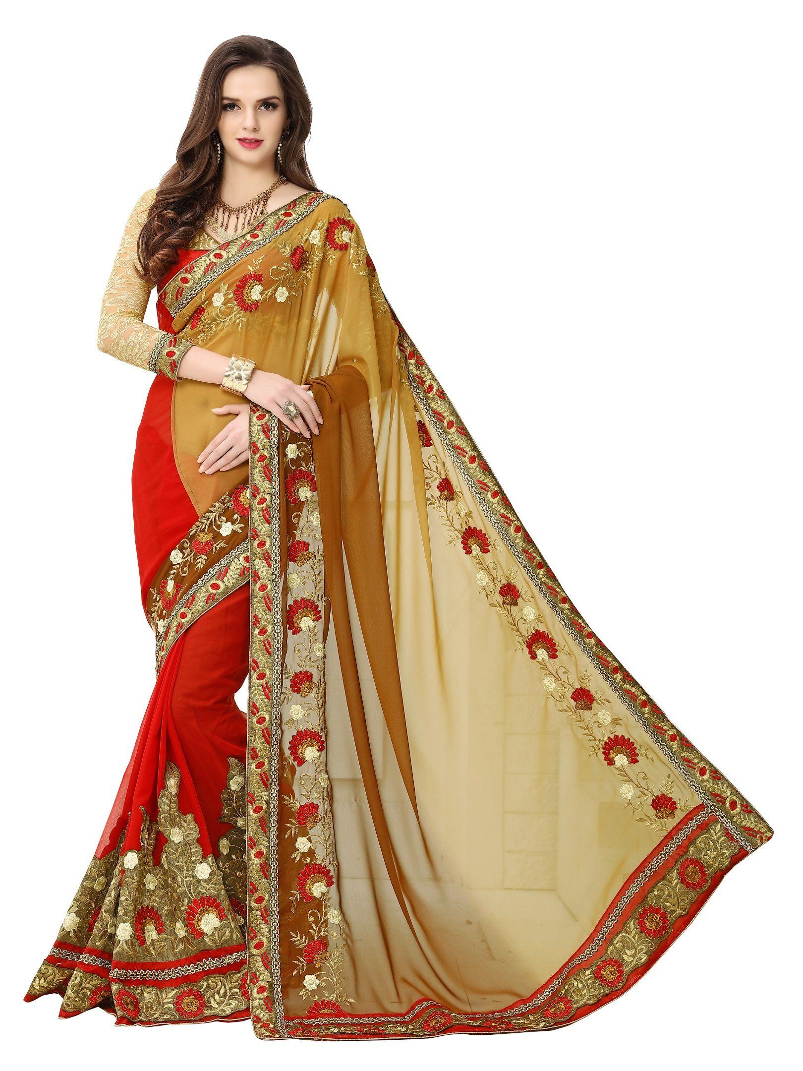 904ab7d2bb Designer Heavy Double Color Hand Work Saree, 7 Days Easy Return, Buy Designer  Saree, Georgette Saree, Embroidery Saree, Party Wear Saree, etc.