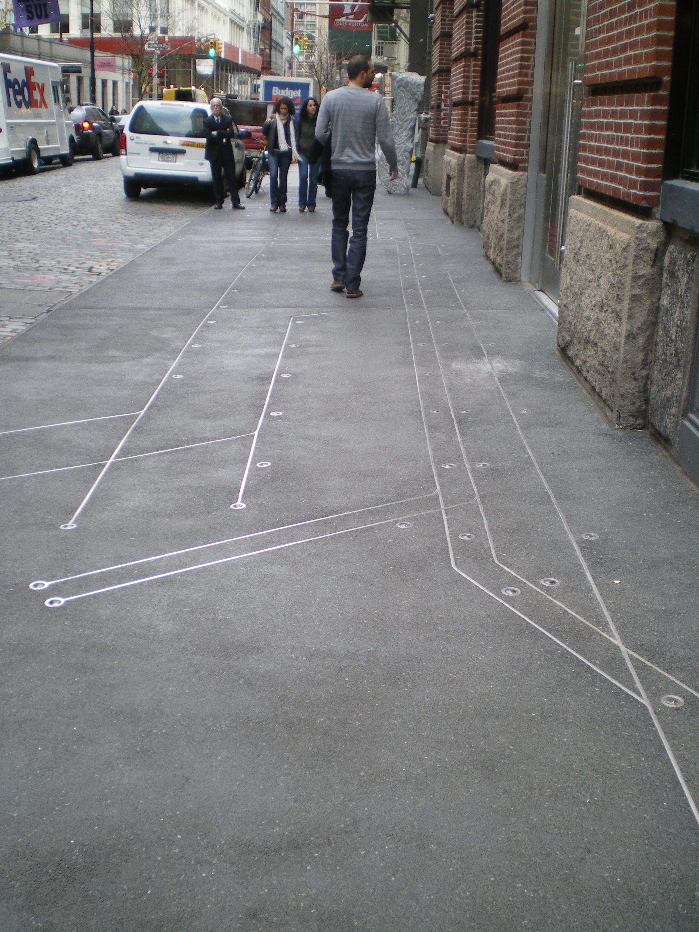 Subway Map Floating On A Ny Sidewalk New York Ny.Subway Map Floating On A Nyc Sidewalk 2009 110 Greene St In