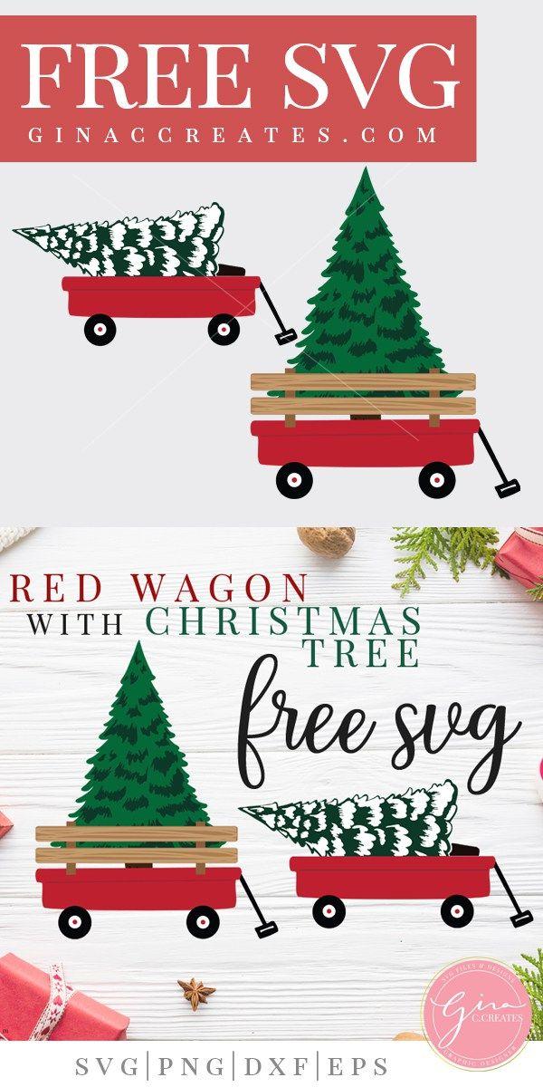 Red Wagon with Christmas Tree Christmas svg, Christmas