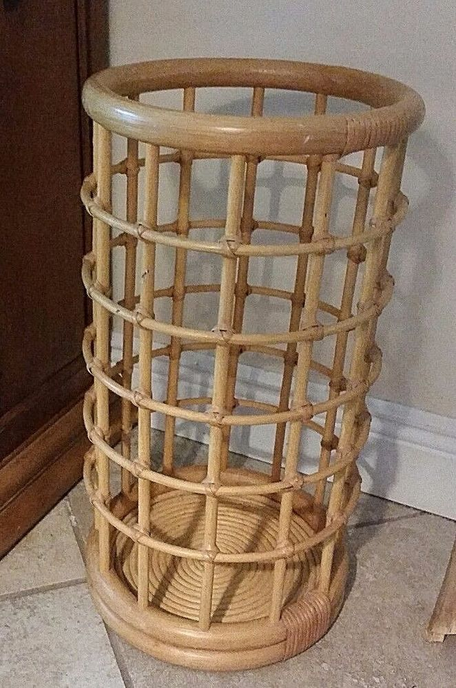 Mid Vintage Bamboo Wood Umbrella Holder Stand Tropical Tiki Rattan 21 Tropical Unknown Vintage Umbrella Stand Umbrella Holder Umbrella Stand