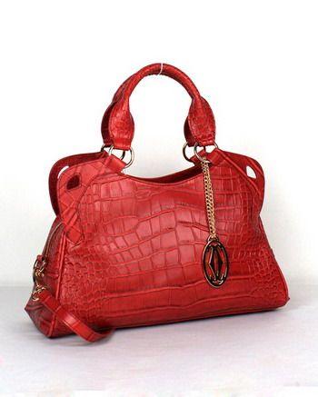 Cartier Marcello De Cartier Crocodile Leather Handbag 1000625 Red Sale 66e299c463845