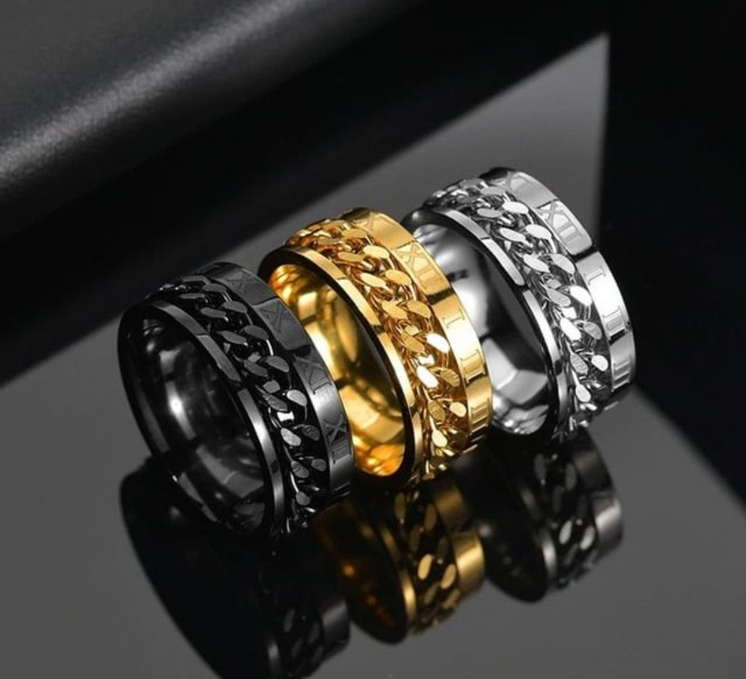 Punk Mens Titanium Steel Rotatable Spinner Chain Silver//Black//Gold Band Ring UK