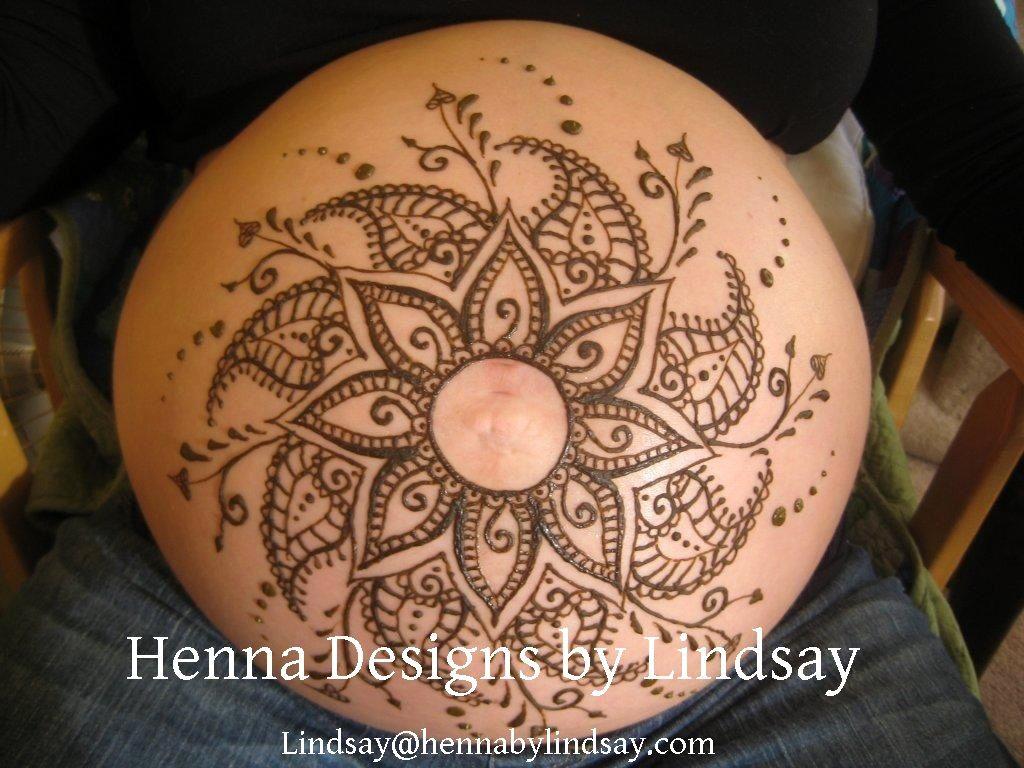 Beautiful Belly Blessing Flower Henna Www Hennabylindsay Com Belly Henna Back Henna Henna Tattoo