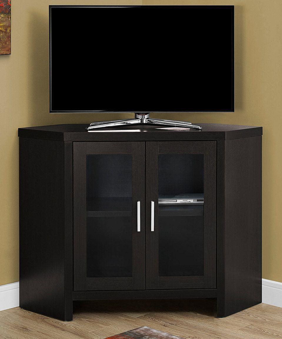 Monarch Specialties Cappuccino Glass-Doors Media Console | Glass ...