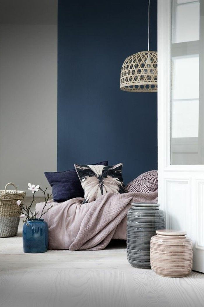 Trendige Farben Fabelhafte Schlafzimmergestaltung in Grau-Blau - schlafzimmer farben grau rosa