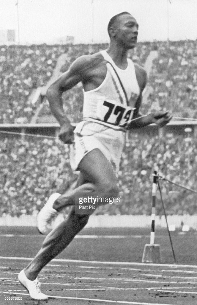 Berlin Olympics - 1936, Jesse Owens setting his (unrecognized) 10,2-