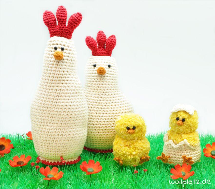 Hühnerfamilie häkeln - Häkeln Sie mit dieser gratis Anleitung Ihre ...