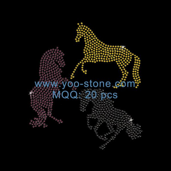 Hot Fix Rhinestone Horse Transfer For Garment