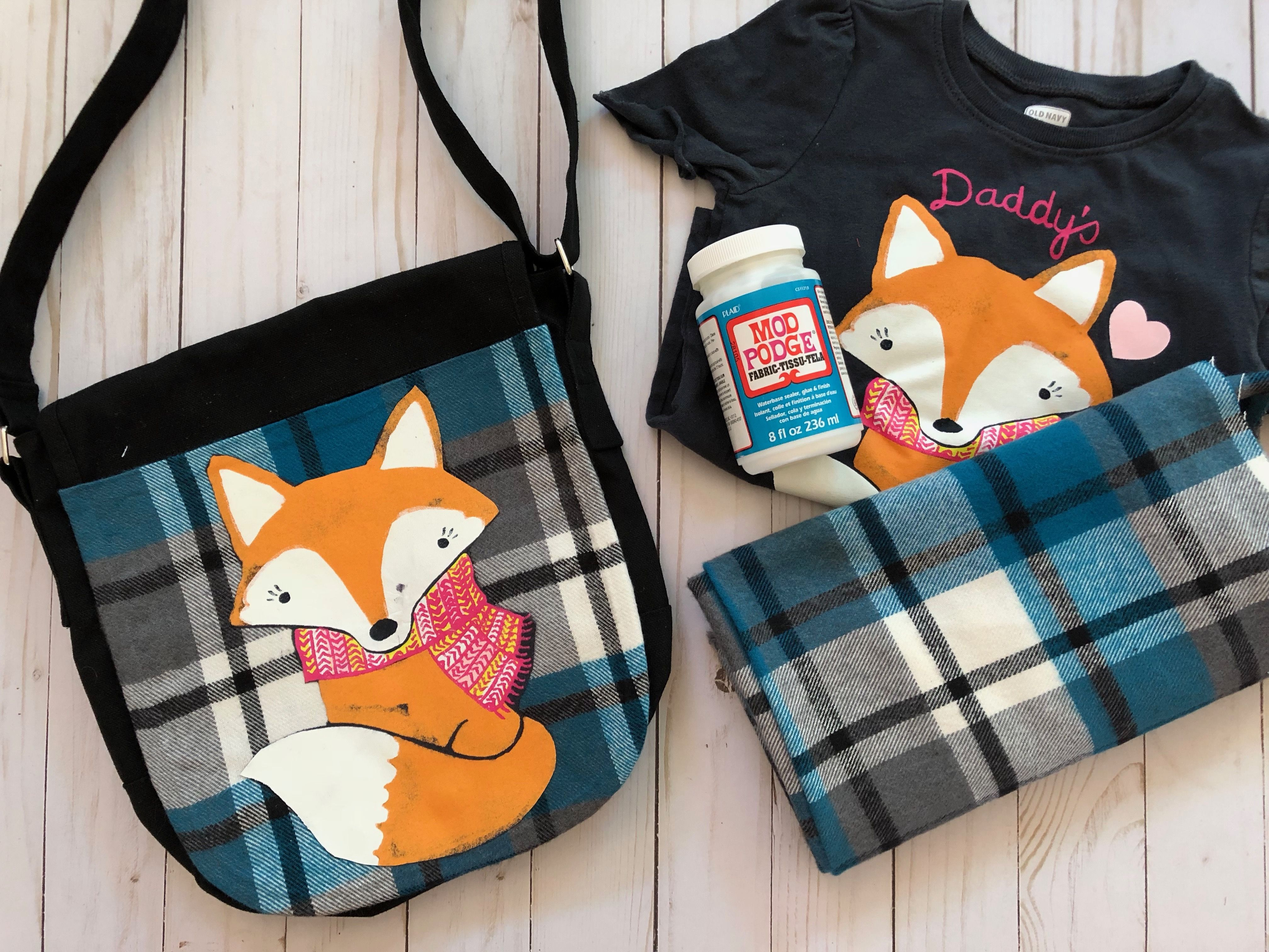 Fox messenger bag! Made with a recycled tee and Fabric Mod Podge.