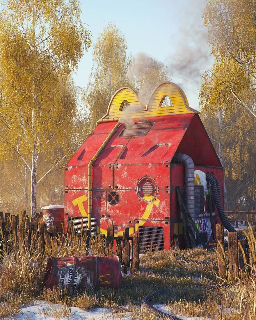 He creates apocalyptic landscapes with symbols of pop culture