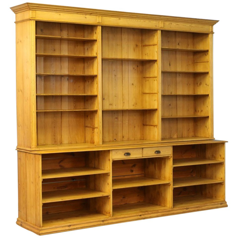 Large Antique Pine Bookcase Wall Unit Denmark Circa 1880